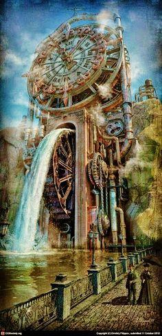 The Time Machine by Dmitriy Filippov Steampunk fantasy water mill 3d Fantasy, Fantasy Places, Fantasy Landscape, Fantasy World, Digital Art Illustration, Steampunk Kunst, Steampunk Clock, Steampunk Theme, Steampunk City
