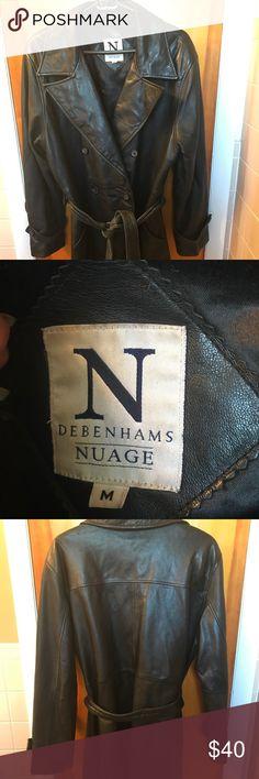 Black leather 3/4 jacket. Size medium. Black leather 3/4 jacket. Size medium. Great jacket. Belt is worn. Belt needs to be shined and or polished. Debenhams Nuage Jackets & Coats