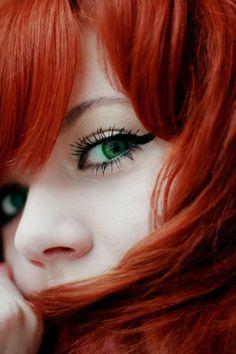 #makeup #eyes beautiful eyes red hair green eyes
