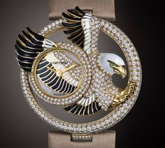 CARTIER Le Cirque Animalier collection- Eagle Watch - 40mm- 18k yellow Gold, black and white Lacquer, round Diamonds and Emerald. This watch is numbered and limited to 60 pieces.                                        •$100.000