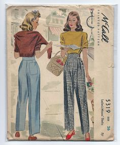 Vintage 1940s McCall 5319 Ladies Misses High Waisted Button Side Pants Slacks Sewing Pattern Size 26