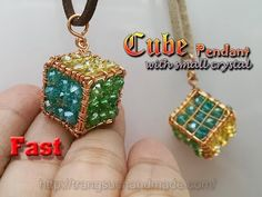 Cube pendant with small crystal - handmade copper jewelry - Fast version 364 - YouTube