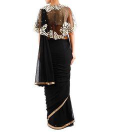 dd4714ec Black Pleated Silk & Chiffon Saree With Blouse And Cape Chiffon Saree, Silk  Chiffon,