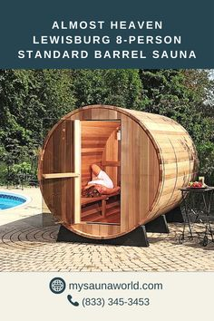 If you love lying down during sauna sessions, a spacious interior is a must. Having enough space to stretch your body will add to a more relaxing sauna experience. The lengthy Lewisburg Barrel Sauna is perfect for that! And if you order it (or any Almost Heaven Sauna) today, you'll get a free LED Mood Lighting upgrade ($249 value). Sauna Portable, Outdoor Sauna, Outdoor Decor, Design Sauna, Scandinavian Saunas, Sauna Kits, Le Hangar, Barrel Sauna, Traditional Saunas