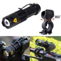 220lm Luz de la Bici Del Cree Q5 LED Ciclismo Bike Mini Antorcha LED Cabeza de La Bicicleta Luz Delantera de la Linterna + 360 Soporte Para Bicicleta accesorios