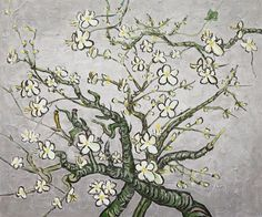 Branches Of An Almond Tree In Blossom (Artist Interpretation in Pearl Grey)Vincent Van Gogh