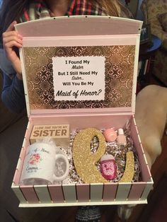 "20 Bridesmaid Proposal Ideas – ""Will You Be My Bridesmaid?"" Maid of Honer Proposal Box DIY Bridesmaid Boxes, Bridesmaid Proposal Gifts, Bridesmaids And Groomsmen, Bridesmaid Gifts Will You Be My, Disney Bridesmaids, How To Ask Your Bridesmaids, Brides Maid Proposal, Groomsmen Proposal, Asking Bridesmaids"