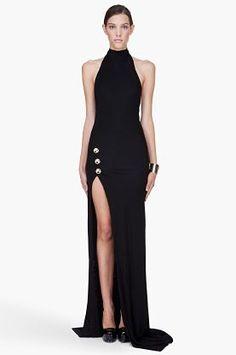 【BALMAIN】Long Black Backless Side Slit Dress☆ロングドレス