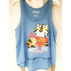 Kellogg's Frosted Flakes Tony The Tiger Blue Tank Brand new with tags, women's size Medium. This soft baby blue high low tank features Tony the Tiger of Frosted Flakes! Very unique! This is a loose fitting tank top. Official Kellogg's merchandise. Kellogg's Tops Tank Tops