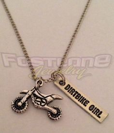 Dirt Bike / Dirt Bike Girl Charm Necklace- Racing Jewelry by Fastlane Jewelry
