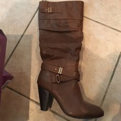 Rampage brown knee high boots Gently worn rampage knee high boots, please see photos for condition. Comes in box Rampage Shoes Heeled Boots