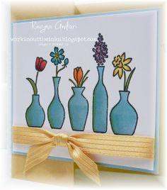 Vivid Vases & Blendabilities- I like the use of green on the vase edges
