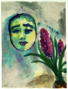 Emil Nolde - Blumen und Maske. Adorable!! Absolutely beautiful, I love this combination of colors.