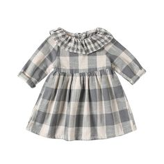 Girls Dresses New Autumn College Winds Style Girls Clothing Long Sleeve Lapel Lattice Pattern Children Kids Princess Dress Gingham Dress, Plaid Dress, Gray Dress, Cheap Dresses, Girls Dresses, Geometric Sleeve, Cute Girls, Baby Girls, Plaid Pattern