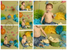 Boys 1st Birthday Cake Smash - Superhero and Dinosaur Smashes | Kimberlin_Gray_Photography