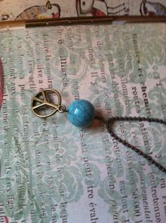 Blue Peace Charm Necklace by PeachBellini on Etsy