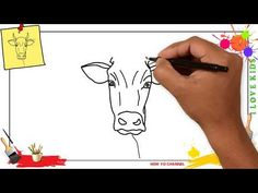 How to draw a cow face EASY & SLOWLY step by step for kids and beginners Simple Face Drawing, Human Face Drawing, Cow Drawing, Drawing Skills, Drawing For Kids, Drawing Tips, Drawing Faces, Sketching Tips, Drawing Stuff
