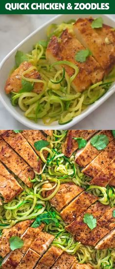 21 Day Fix Meal Plan Discover This incredibly delicious Quick & Easy Chicken and Zoodles makes a light yet filling dinner. Tender paprika-seasoned chicken breast pairs so well with succulent garlic-infused zucchini noodles. Zoodle Recipes, Spiralizer Recipes, Chicken Zucchini, Zucchini Noodles, Zoodles With Chicken, Keto Chicken, Healthy Cooking, Healthy Eating, Cooking Recipes