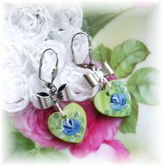 Repin to win these Shabby Chic Hand Painted Blue Rose Shell MOP earrings! Leverback with Bows nickel lead free....Sweet! This photo will take you to my Facebook page where you need to comment under the photo to be entered and also must repin~Thanks so much for playing! Can't wait to see who wins!