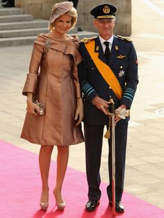 Luxembourg Wedding: Belgian Royal Family....Posted on October 20, 2012 by HatQueen....The entire Royal Family of Belgium (including 85 year old dowager Queen Fabiola) attended this royal wedding as the two Royal Houses share a close family connection. Mathilde is pictured here.
