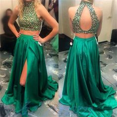 167 USD,Two Piece Prom Dresses,Open Backs Prom Dresses,Satin High Slit Prom Dresses,Sexy Slit Formal Gowns