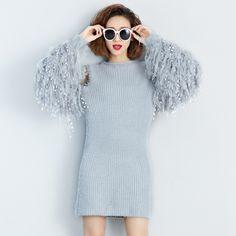 [Twotwinstyle] осень 2017 г. На зимнем меху с одежда с длинным рукавом трикотажные Свитеры для женщин платье Новинки для женщин модные Костюмы Пуловеры для женщин серый купить на AliExpress