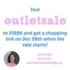 Don't miss out on the sale!! I'll send you a text when it's time to shop! www.MommaNeedsaNewBag.com