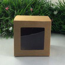 En gros 10*10*10 cm Kraft Boîte De Fenêtre Emballage Personnalisé Cadeau Boîtes De Bonbons/Gâteau/Savon/Cookie/Gâteau emballage Boîte(China (Mainland))