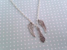 Castiel necklace - Supernatural angel necklace with tie and angel wings by otterlydesign, $23.49