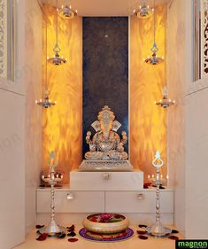 Pooja Units - Home Interior Designers in Banashankari - Home Decors in Bangalore - End to End Interior Designers in Bangalore. Meditation Raumdekor, Meditation Room Decor, Temple Room, Home Temple, Living Room Designs, Living Room Decor, Temple Design For Home, Mandir Design, Pooja Room Door Design