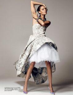 VOGUE TURKEY DECEMBER 2012  'Dance Baby Dance!'  Model: Joan Smalls  Photographer:Cuneyt Akeroglu  Stylist: Ece Sükan    Dress By Giles