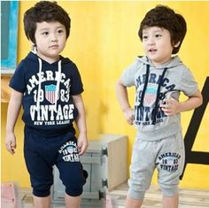 boys short sleeve hooded tshirt + shorts cotton clothing set children kids t shirt and shorts casual clothes sets boys outerwear $15.99 - 17.59 Sport Outfits, Kids Outfits, Kids Vest, Boys Suits, Kids Girls, Teen Kids, T Shirt And Shorts, Kids Sports, Aliexpress
