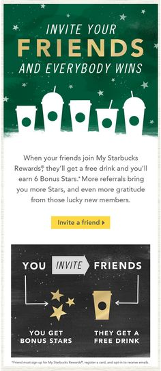starbucks refer a friend rewards email. subject line: Refer more friends, earn more Stars TG-I chose this because I love Starbucks coffee and admire their marketing tactics. Marketing Mail, Email Marketing Design, Email Marketing Strategy, Inbound Marketing, Online Marketing, Marketing Tactics, Marketing Ideas, Affiliate Marketing, Marketing Campaign Examples