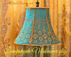 Cover a fancy lampshade with just a glue gun and 1 yard of fabric!  No sew!  Easy Squeezy!