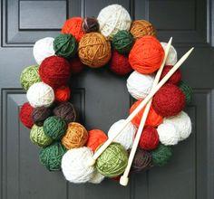 Yarn Ball Wreath Tutorial - from Craft Addiction Wreath Crafts, Diy Wreath, Yarn Crafts, Diy And Crafts, Tulle Wreath, Burlap Wreaths, Holiday Crafts, Christmas Wreaths, Christmas Crafts