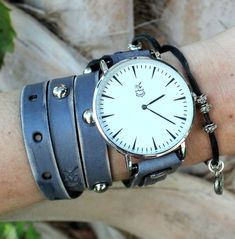 Gray leather wrap watch with silver studs