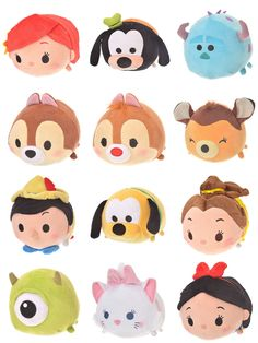 Some more Tsum Tsum Land characters just released in Japan! Characters like Ariel, Pinocchio, Mike, Sulley, and more are available in mini and small size. Tsum Tsum Sets, Disney Tsum Tsum, Disney Plush, Princess Style, Princess Fashion, Tsumtsum, Disney Princess Dresses, Disney Frozen Elsa, Cute Disney