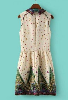 White Print Sleeveless Lapel Short Dress with Back Zip