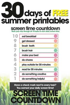 free summer printables | screen time countdown | summer rules to earn electronics | free printables