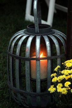 Rustic lantern for rustic country wedding bought at the Christmas tree shop