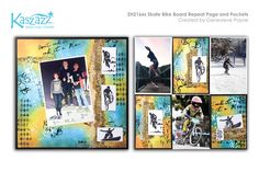 This project will show you how to create a bright and stunning page and pockets scrapbooking layout, perfect for those active teenage men in your life! Pocket Scrapbooking, Scrapbooking Layouts, Scrapbook Pages, Door Prizes, Repeat, Skate, Workshop, Bike, Pockets