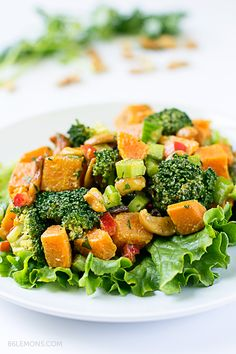 Curry Sweet Potato Salad with Broccoli and Cashews #vegan #gluten free (02)