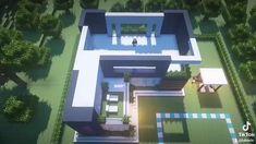 Minecraft Modern House Blueprints, Minecraft Modern Mansion, Villa Minecraft, Minecraft House Plans, Cute Minecraft Houses, Minecraft Architecture, Minecraft Buildings, Minecraft Mansion Tutorial, Minecraft House Tutorials
