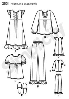 Child or Girl Nightgown, Pajama Sewing Pattern 2831 Simplicity