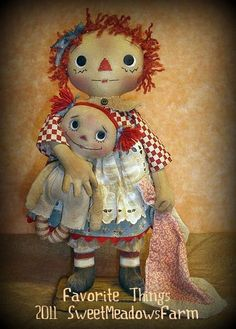 Favorite Things E-PATTERN Standing Primitive Raggedy dolls and Elephant Primitive Patterns, Primitive Crafts, Primitive Snowmen, Primitive Christmas, Country Christmas, Christmas Christmas, Little Dolly, Homemade Dolls, Fabric Dolls