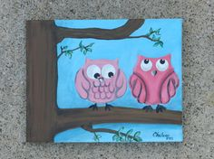 Original Acrylic Painting  Perched Owls  by CreationsByCheleen, $38.00