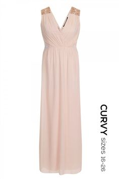 Little Mistress Soft Pink Embellished Plunge Neck Maxi Dress
