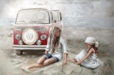 - Beach parking By Maria Magdalena Oosthuizen South African Artists, Art Graphique, Pictures To Paint, Beach Art, Printable Art, Printable Vintage, Strand, Art For Kids, Decoupage