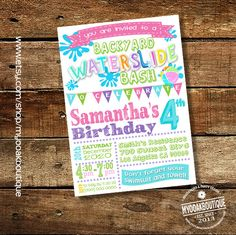 Waterslide Pool Party Invitation Birthday Invite Summer Pink Teal Lime Green Girl Digital Printable