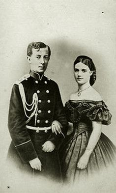 """Tsarevich Nicholas (""""Nixa"""") and Princess Dagmar. Dagmar was first enfianced to Nixa, who tragically died before their marriage could take place. She later wed his brother, the future Tsar Alexander lll, and by all accounts it was a happy marriage."""